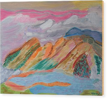 Mountains In The Clouds Wood Print by Meryl Goudey