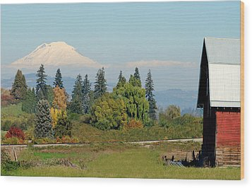 Mt. Adams In The Country Wood Print by Athena Mckinzie