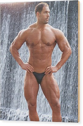 Muscleart Marius Waterfall And Muscle Wood Print by Jake Hartz