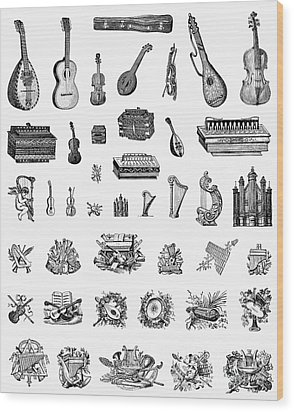 Musical Instruments Wood Print by Granger