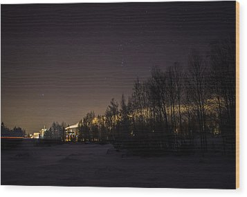 Wood Print featuring the photograph My City Under Orion by Matti Ollikainen