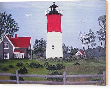 Nauset Lighthouse Painting Wood Print by Frederic Kohli