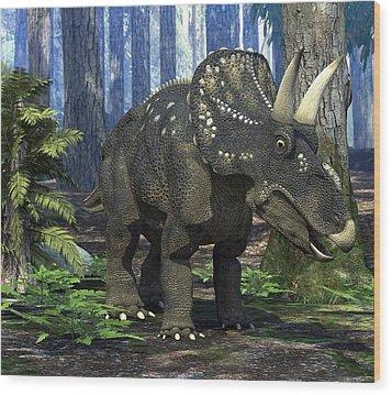 Nedoceratops Dinosaur, Artwork Wood Print by Roger Harris