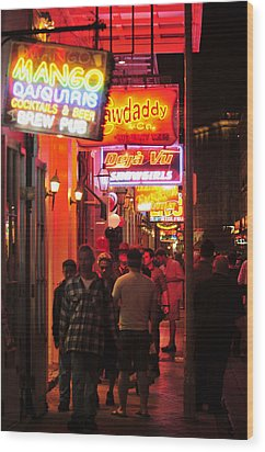 Neons On Bourbon Street Wood Print by Bourbon  Street