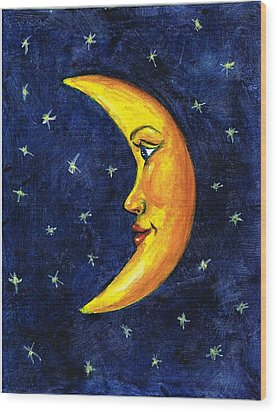 New Moon Wood Print by Sarah Farren