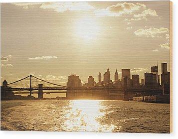 New York City Sunset Wood Print by Vivienne Gucwa