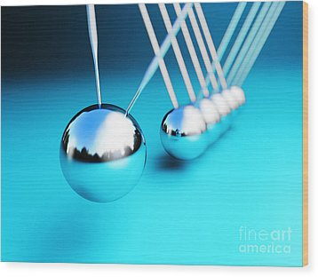 Newton Cradle 3d Wood Print by Gualtiero Boffi