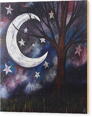 Night Gazing Wood Print