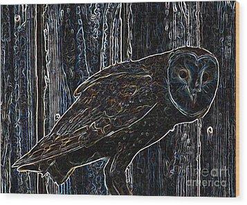 Night Owl - Digital Art Wood Print by Carol Groenen
