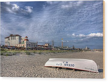 Ocean City Beach Wood Print by John Loreaux