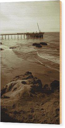 Oil Pier Wood Print by Ron Regalado