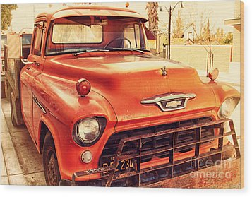 Old American Chevy Chevrolet Truck . 7d10669 Wood Print by Wingsdomain Art and Photography