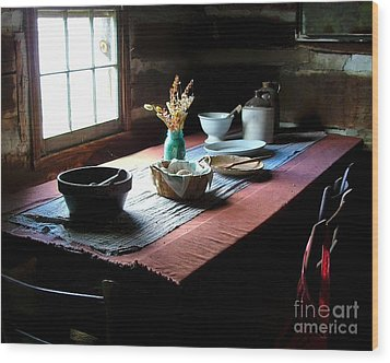 Old Cabin Table Wood Print by Julie Dant