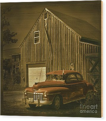 Old Car Old Barn Wood Print by Jim Wright