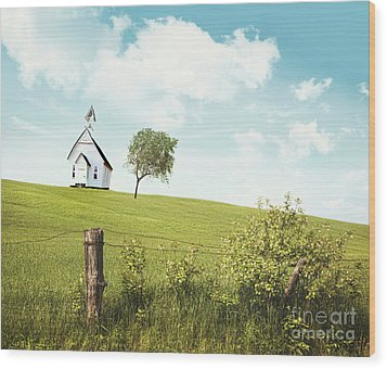 Old Country School House  On A Hill  Wood Print by Sandra Cunningham