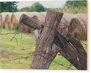 Old Cross Fence Wood Print by Lisa Moore