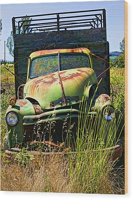 Old Green Truck Wood Print by Garry Gay