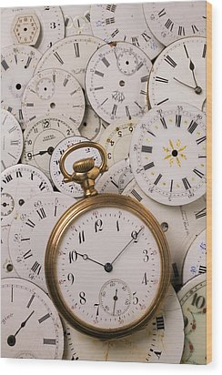 Old Pocket Watch On Dail Faces Wood Print by Garry Gay
