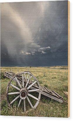 Old Prairie Wheel Cart Saskatchewan Wood Print by Mark Duffy