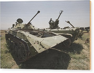 Old Russian Bmp-1 Infantry Fighting Wood Print by Terry Moore