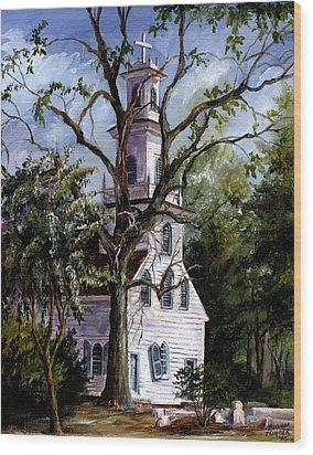 Wood Print featuring the painting Old St. David's Church by Gloria Turner