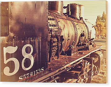 Old Steam Locomotive Engine 1258 . 7d10467 Wood Print by Wingsdomain Art and Photography