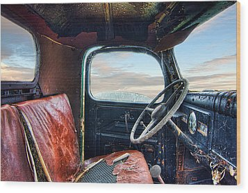 Old Truck Interior Wood Print by Tim Fleming