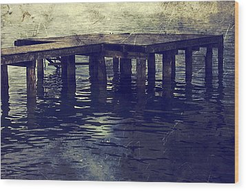 Old Wooden Pier With Stairs Into The Lake Wood Print by Joana Kruse