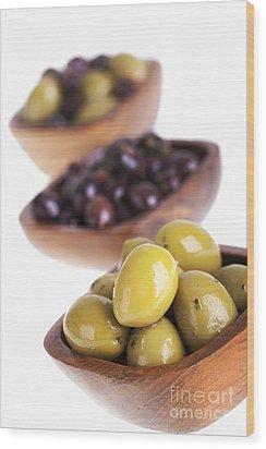 Olive Bowls Wood Print by Jane Rix