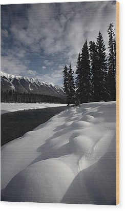 Open Water In Winter Wood Print by Mark Duffy