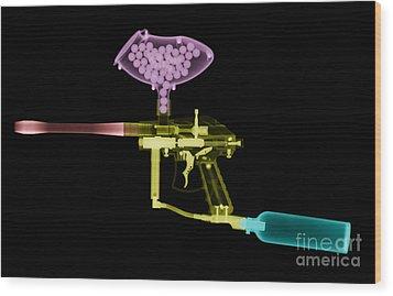 Paintball Gun Wood Print by Ted Kinsman