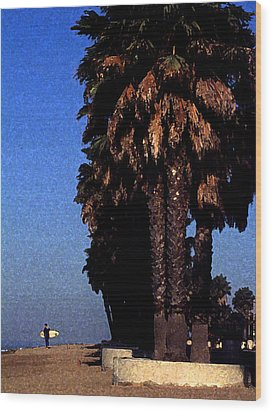 Palm Trees At Surfers Point Wood Print by Ron Regalado