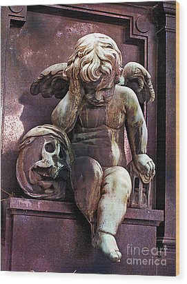 Paris Cemetery - Pere La Chaise - Cherub And Skull Wood Print by Kathy Fornal