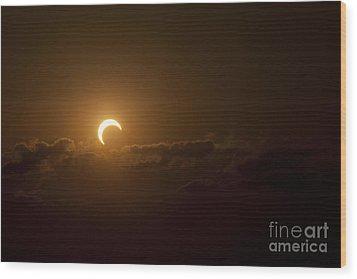 Partial Solar Eclipse Wood Print by Phillip Jones