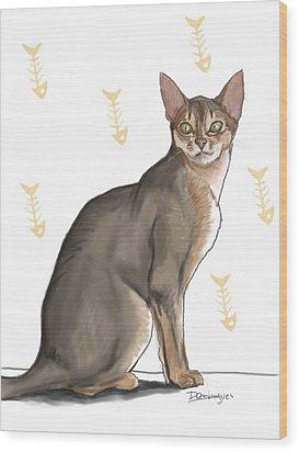 Pastel Cat Wood Print by Mario Domingues