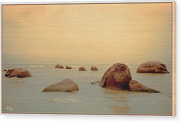 Pastel Rocks Wood Print by Allan Rufus