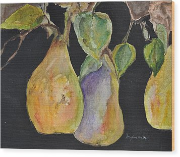 Pears On The Vine Wood Print by MaryAnne Ardito