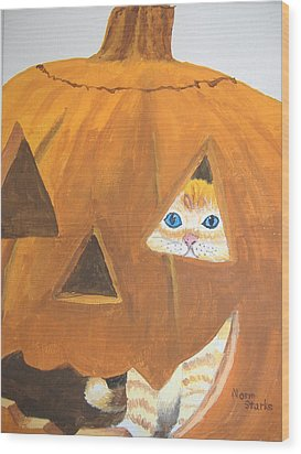 Wood Print featuring the painting Peekaboo by Norm Starks