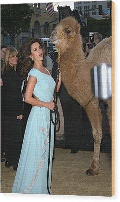 Penelope Cruz, Camel At Arrivals Wood Print by Everett