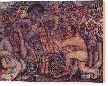 People Of Darkness Wood Print by Vladimir Feoktistov