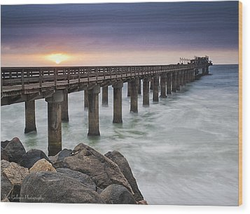 Pier At Sunset Wood Print
