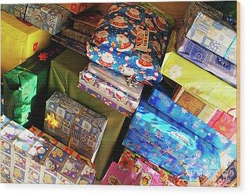 Pile Of Christmas Presents Wood Print by Sami Sarkis