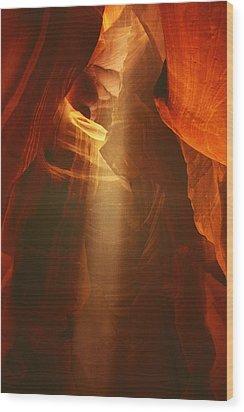 Pillars Of Light - Antelope Canyon Az Wood Print by Christine Till