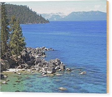 Pines Boulders And Crystal Waters Of Lake Tahoe Wood Print by Frank Wilson
