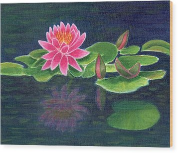 Pink Lily Of The Pond Wood Print by Jeanne Kay Juhos