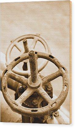 Pipeline Valves Wood Print by Gaspar Avila