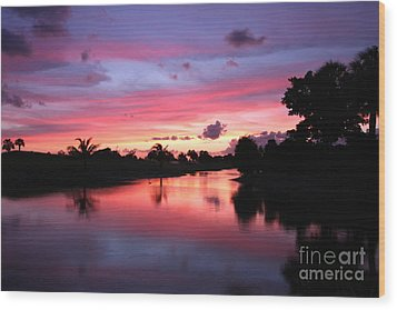 Plantation Preserve Sunset Wood Print by Jennifer Zelik
