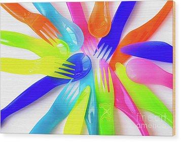 Plastic Cutlery Wood Print by Carlos Caetano