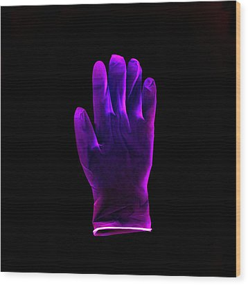 Plastic Glove, Negative Image Wood Print by Kevin Curtis