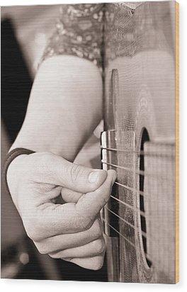 Playing Guitar Wood Print by Tom Gowanlock